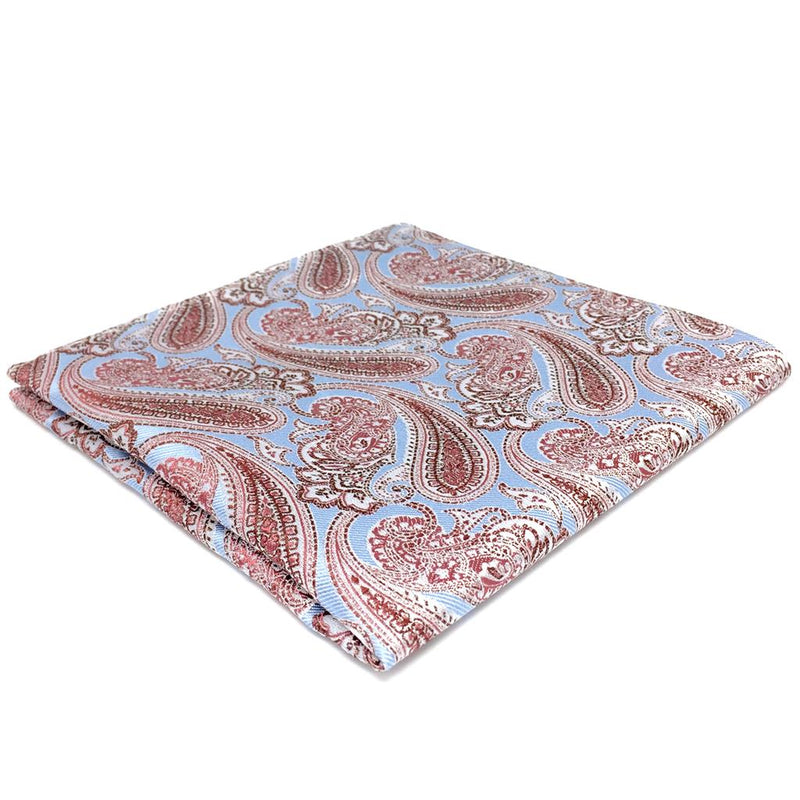 Azure Paisley Silk Pocket Square | 100% Silk Pocket Square | SoKKs.com