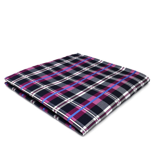 Purple Check Silk Pocket Square