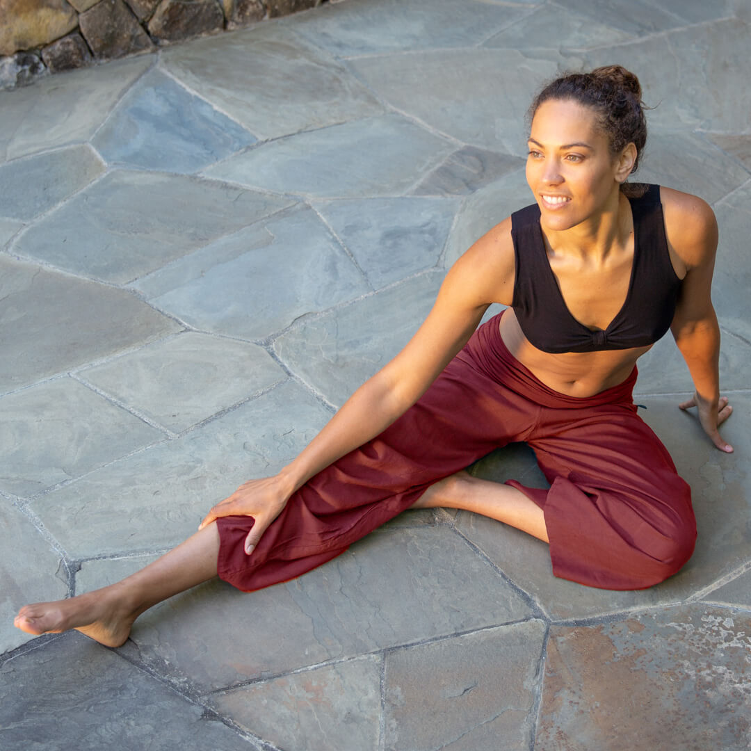 caraucci movement inspired plant-based rayon ruched breathable pants that can be adjustable.