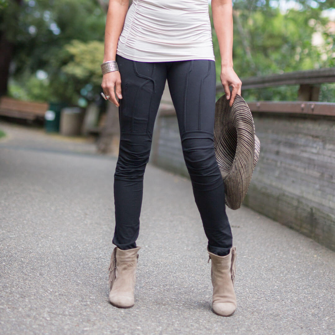 caraucci plant based soft and stretchy bamboo black leggings with raised stitch details