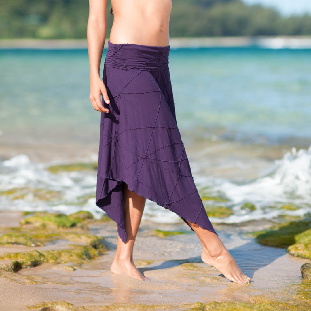 caraucci skirts collection featuring plant based rayon jersey textured purple midi skirt with fold over waistband