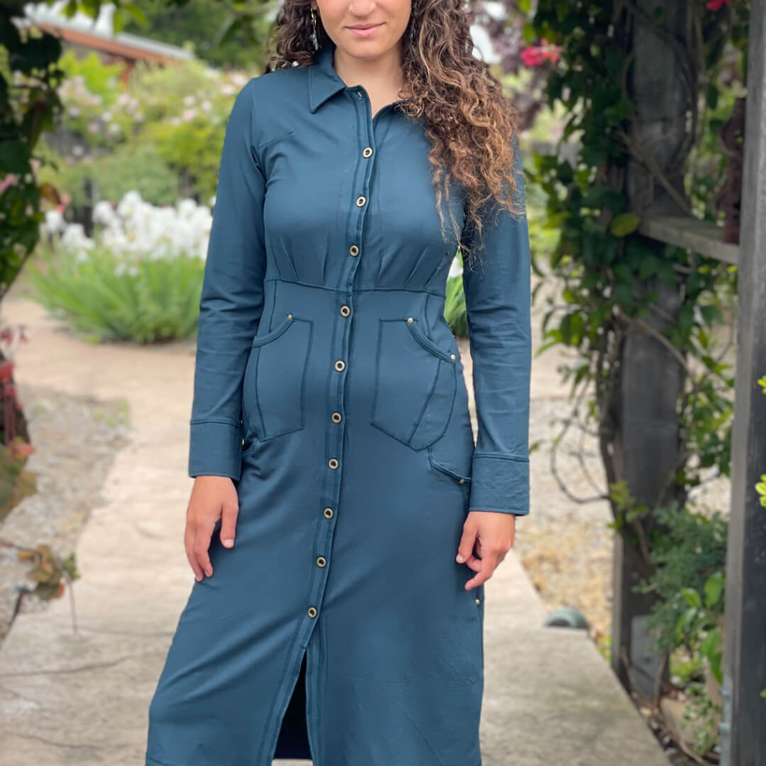 CARAUCCI bamboo spandex teal button jacket with 6 functional pockets and can be worn as a jacket or a shirt dress.