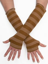 Load image into Gallery viewer, Womens Color Stripe Fingerless Gloves in Mustard