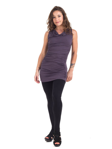 Womens Rayon Jersey Gather Dress Tunic in Steel Grey