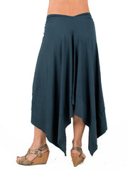 Womens Rayon Jersey Michele Skirt in Teal-back view
