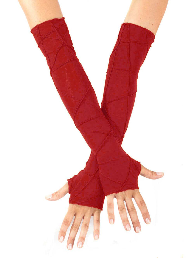 women's plant based rayon jersey stretchy opera length red textured fingerless gloves #color_red
