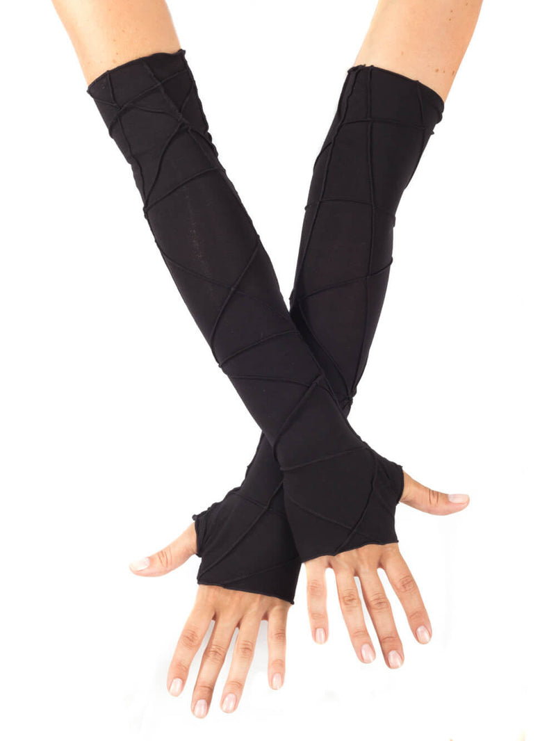 women's plant based rayon jersey stretchy opera length black textured fingerless gloves #color_black