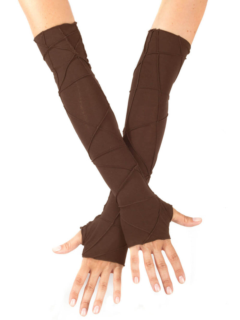 women's plant based rayon jersey stretchy opera length brown textured fingerless gloves #color_brown