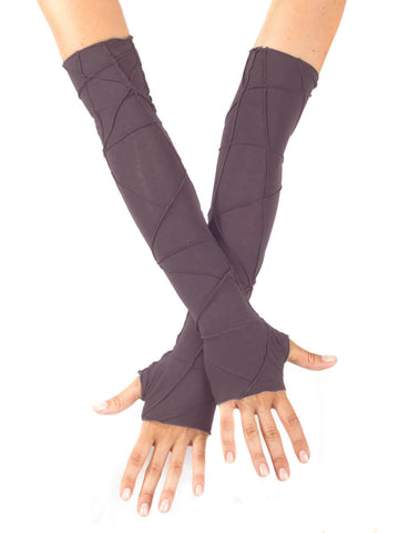 Womens Opera Length Texture Fingerless Gloves in Steel Grey