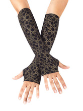 Load image into Gallery viewer, Womens Rayon Jersey Starseed Print Fingerless Gloves in Black and Gold