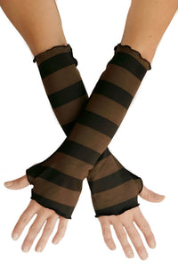 Womens Rayon Jersey Stripe Fingerless Gloves in Black and Brown