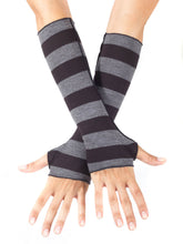 Load image into Gallery viewer, Womens Rayon Jersey Stripe Fingerless Gloves in Black and Grey