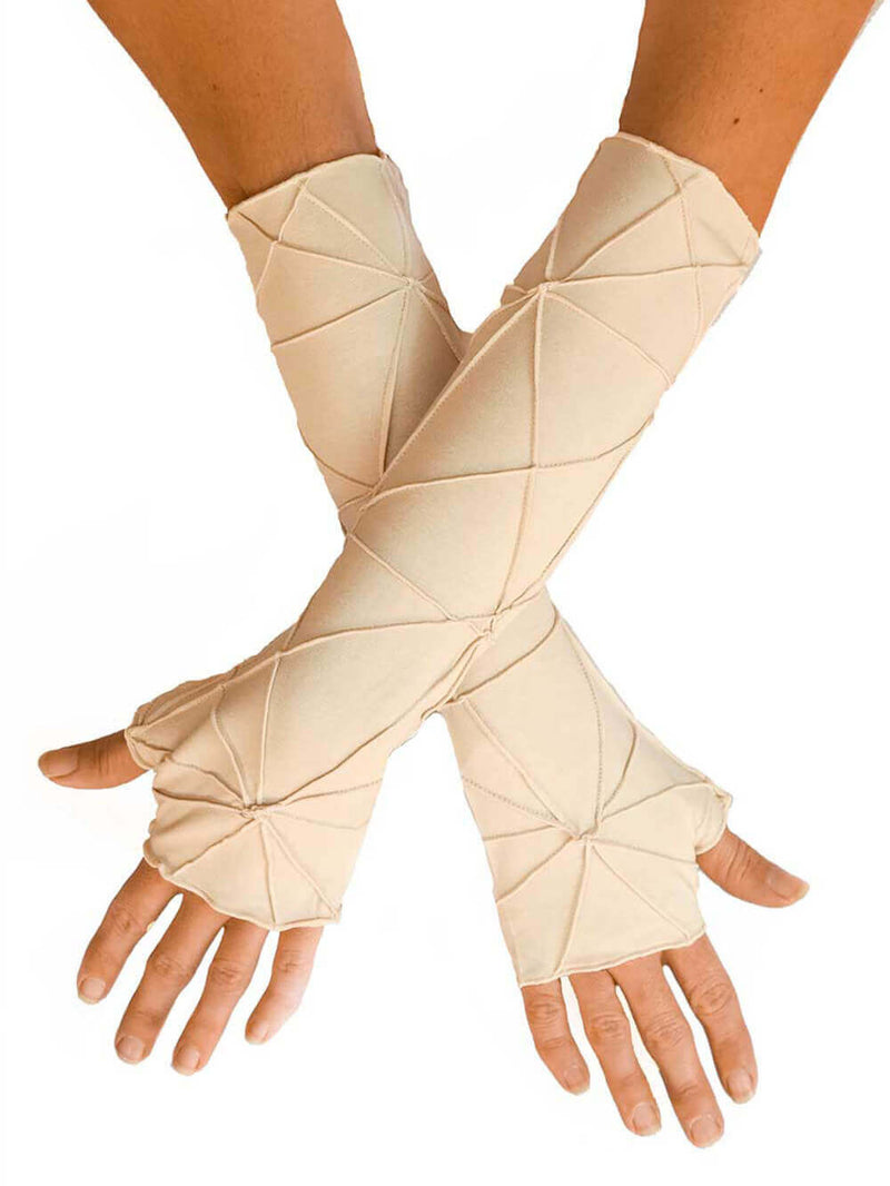 women's plant based rayon jersey stretchy cream textured fingerless gloves #color_winter-white