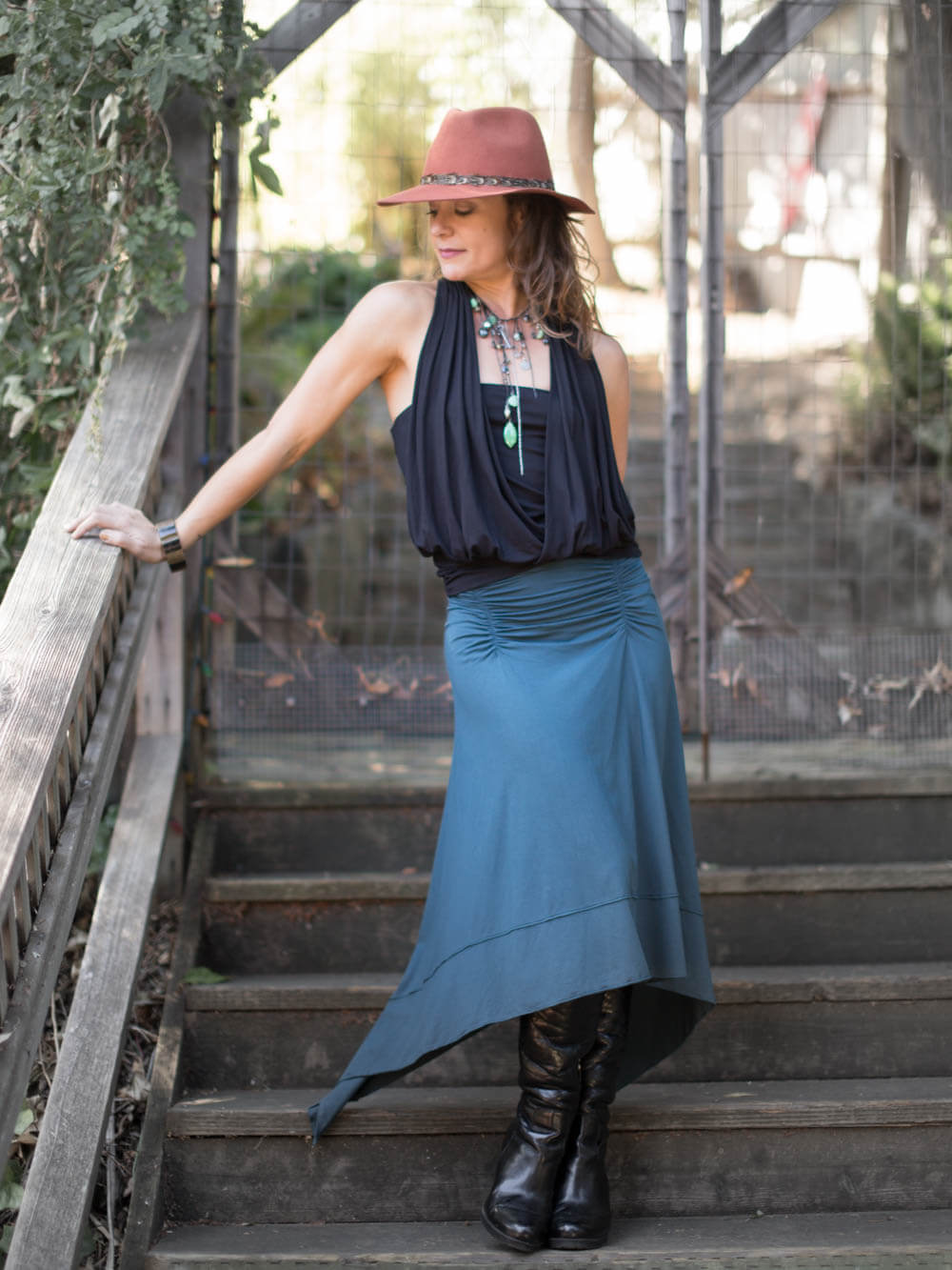 women's plant based rayon jersey handkerchief teal midi skirt #color_teal
