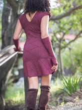 Load image into Gallery viewer, Womens Opera Length Texture Fingerless Gloves in Wine paired with a Rayon Jersey Texture Tunic Dress in Wine-back view