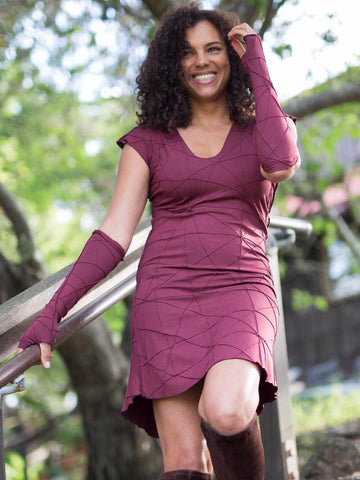 Womens Opera Length Texture Fingerless Gloves in Wine paired with a Rayon Jersey Texture Tunic Dress in Wine