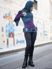Womens Cotton Lycra Moto Pants in Black with a Rayon Jersey PeekaBoo in Plum with a Flow Vest in Teal