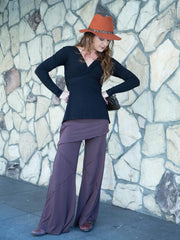 Womens Long Sleeve Rayon Jersey Twist Top in Black with Wide Leg Panel Rayon Jersey Pants in Steel Grey