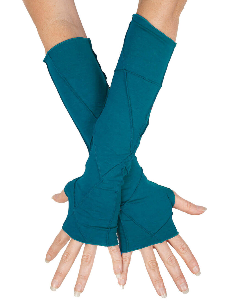 women's plant based rayon jersey stretchy bright blue textured fingerless gloves #color_cosmo