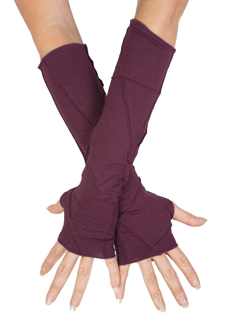 women's plant based rayon jersey stretchy purple textured fingerless gloves #color_jam