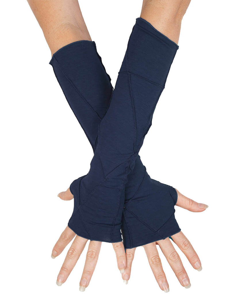 women's plant based rayon jersey stretchy navy blue textured fingerless gloves #color_navy