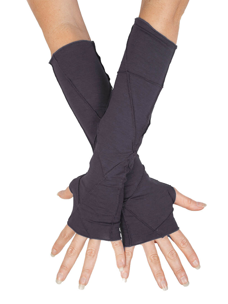 women's plant based rayon jersey stretchy steel grey textured fingerless gloves #color_steel