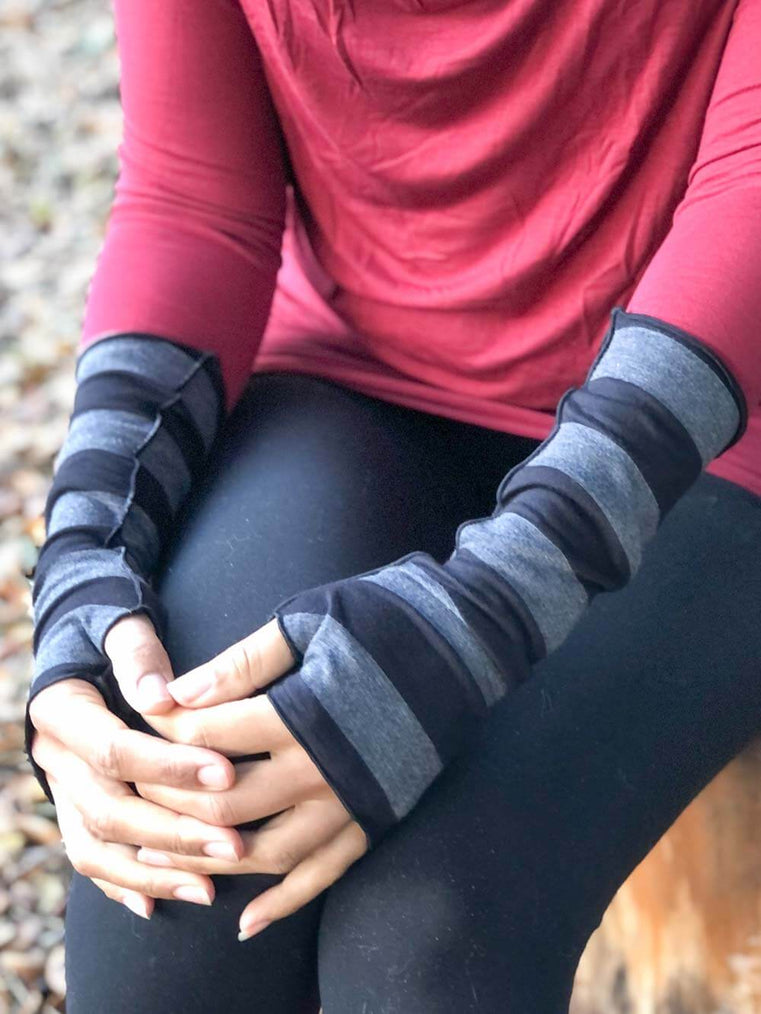 women's plant based rayon jersey stretchy black and grey striped fingerless gloves