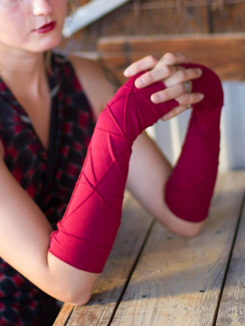 women's plant based rayon jersey stretchy red textured fingerless gloves #color_red