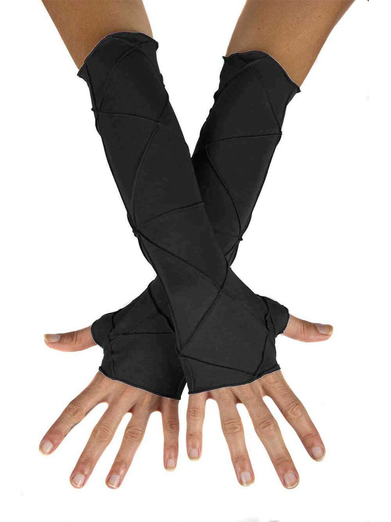 women's plant based rayon jersey stretchy black textured fingerless gloves #color_black