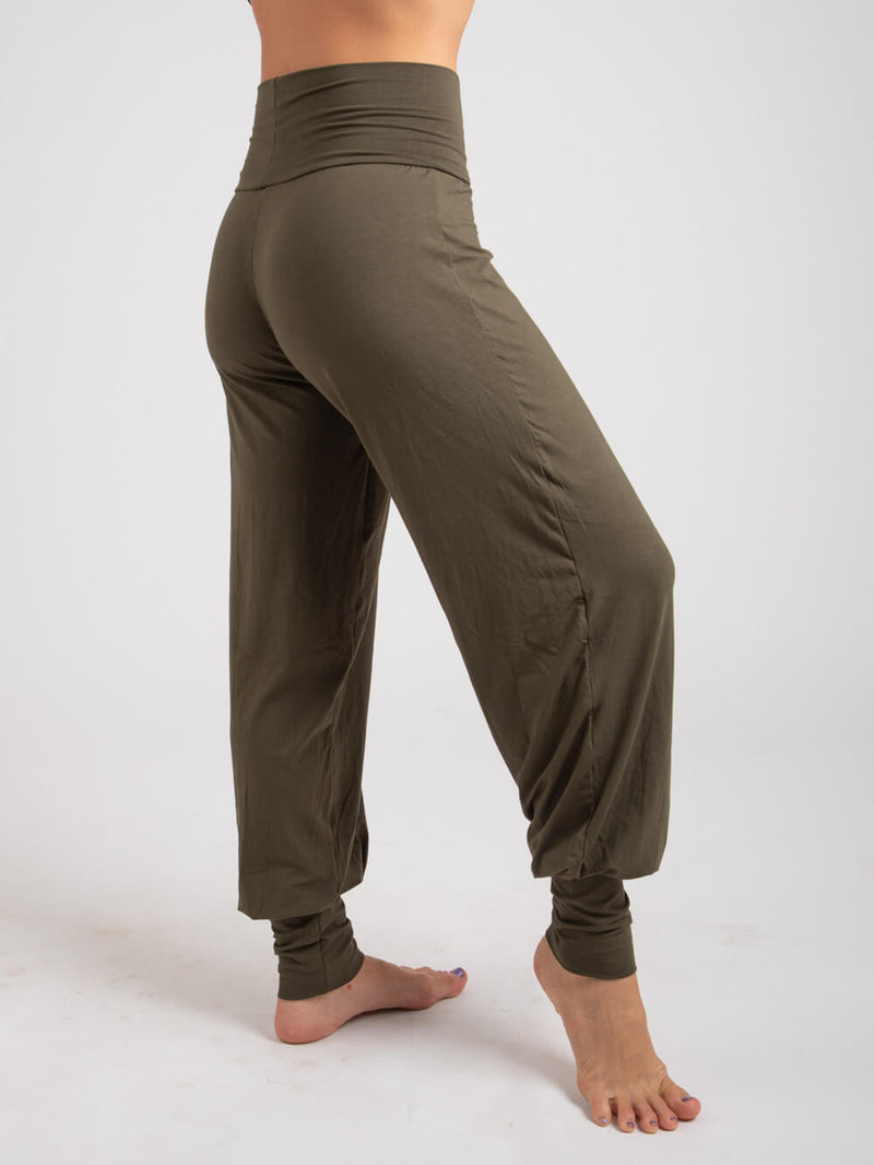 womens natural jersey comfortable loose fit balloon pants with fold over waistband in forest side view #color_forest
