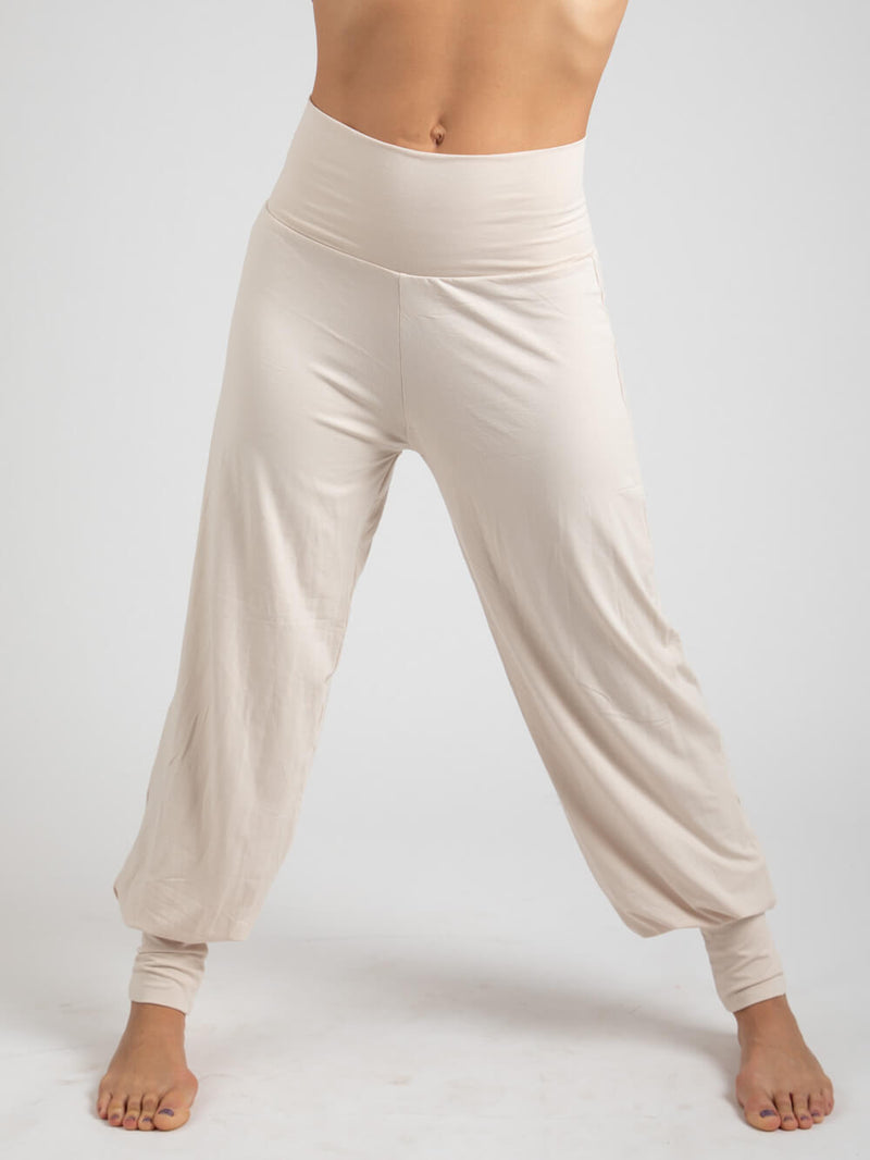 womens natural jersey comfortable loose fit balloon pants with fold over waistband in winter white  #color_winter-white