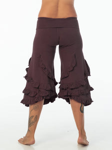 CARAUCCI women's ruffle bloomer pants are shown in dark plum are made from cotton lycra jersey and have a loose fit silhouette.