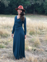 womens long sleeve vneck wrap style teal blue maxi dress #color_teal