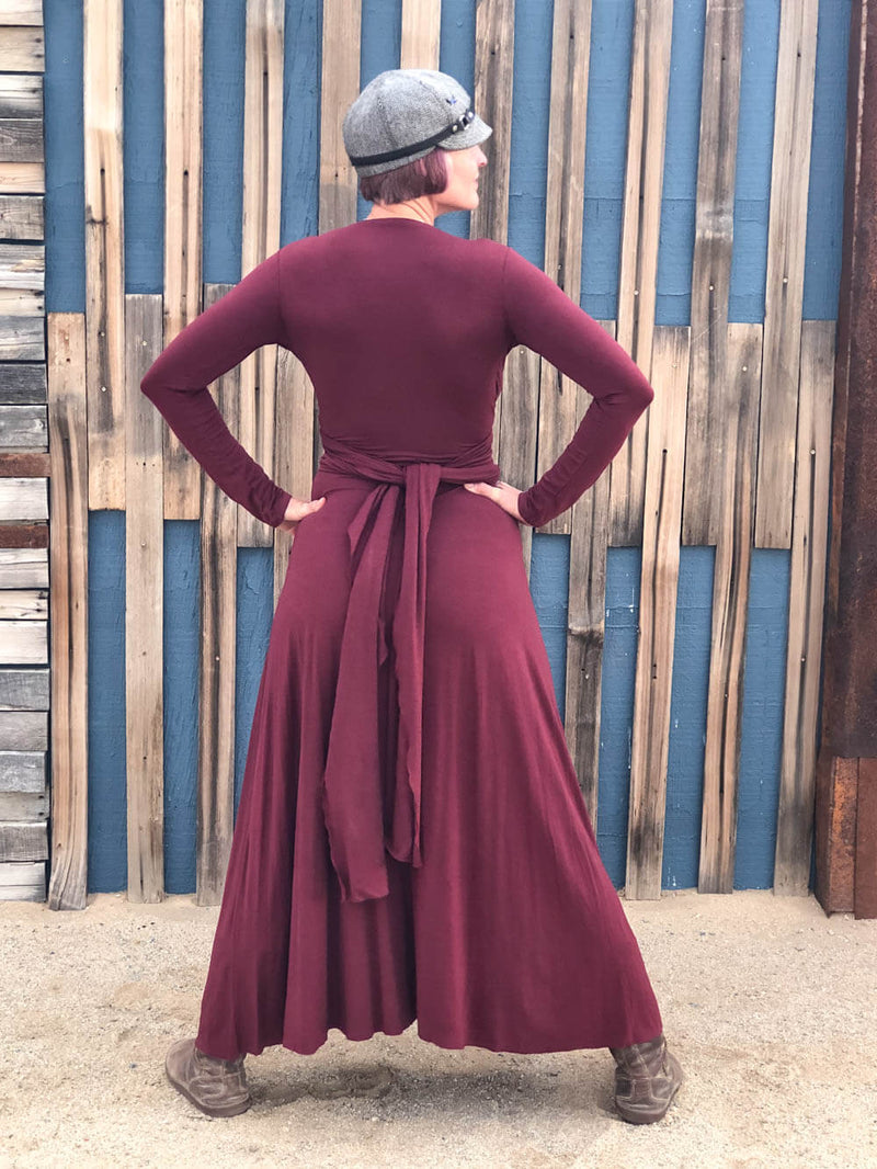 womens long sleeve vneck wrap style wine maroon maxi dress #color_wine