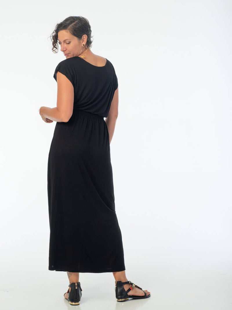 women's plant based lightweight black travel dress with side slits and elastic waist #color_black