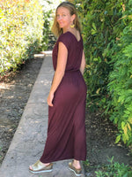 women's plant based lightweight maroon travel dress with side slits and elastic waist #color_merlot