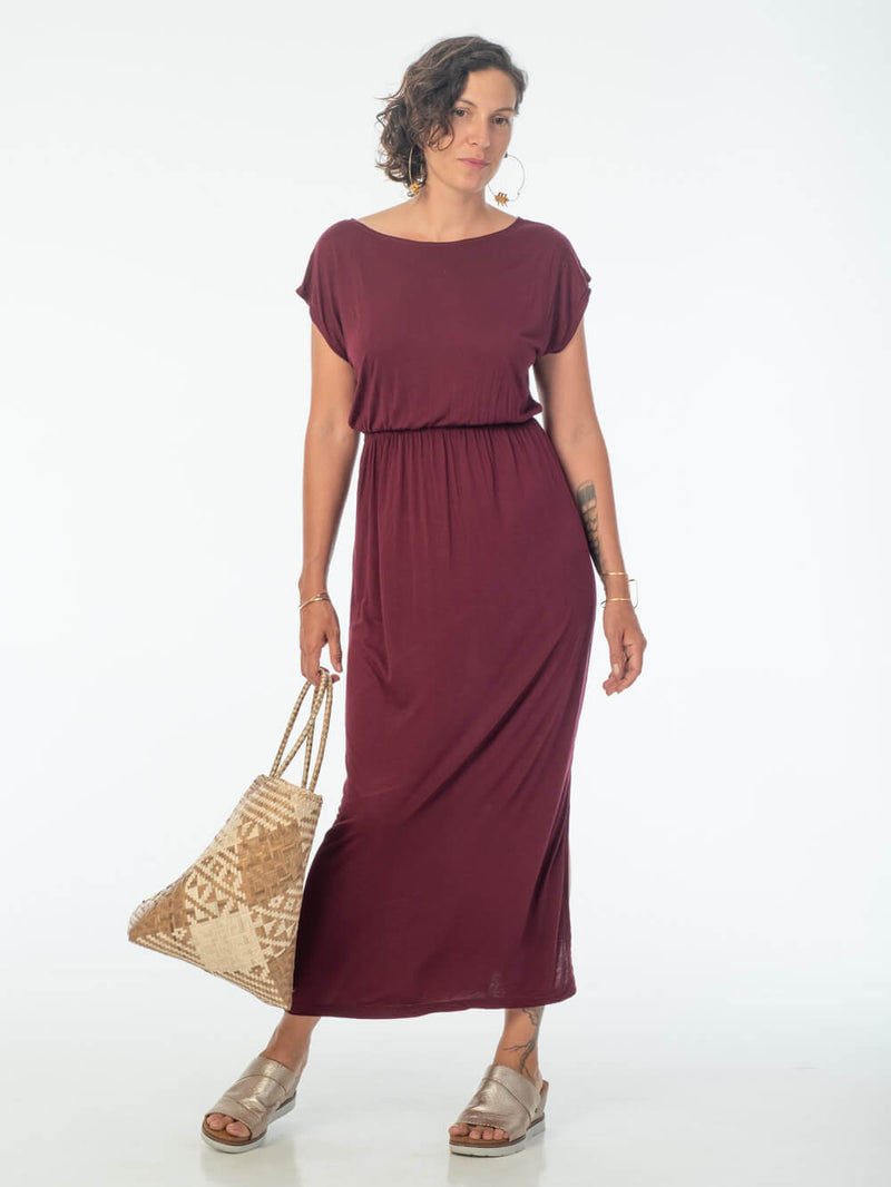 women's plant based lightweight maroon travel dress with side slits and elastic waist #color_brick