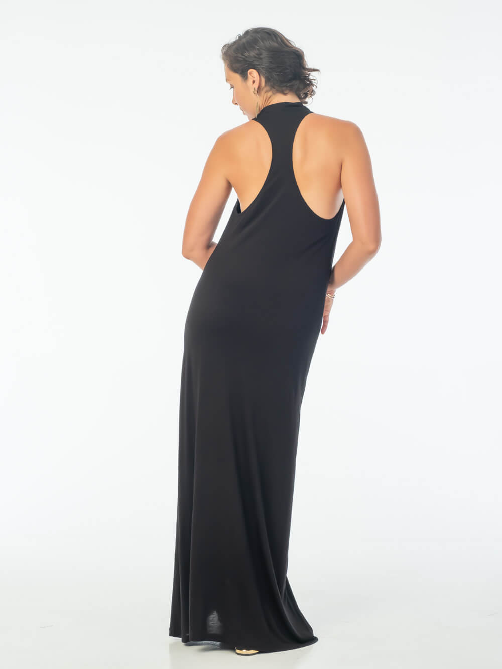women's bamboo jersey double lined black racerback maxi dress #color_black