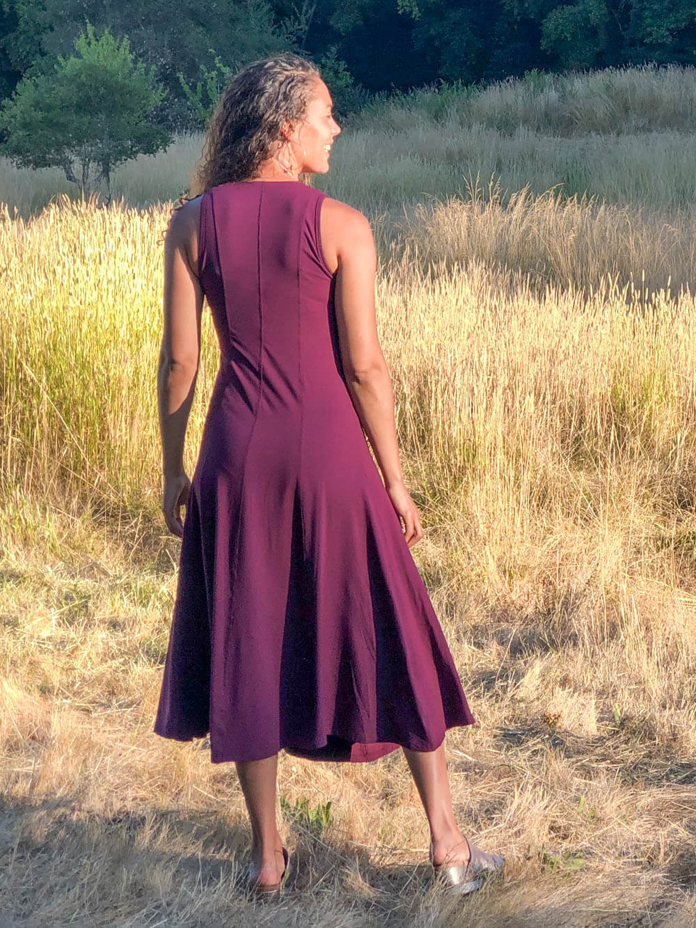 women's plant based rayon jersey stretchy purple v-neck midi dress with raised detailed stitching #color_jam
