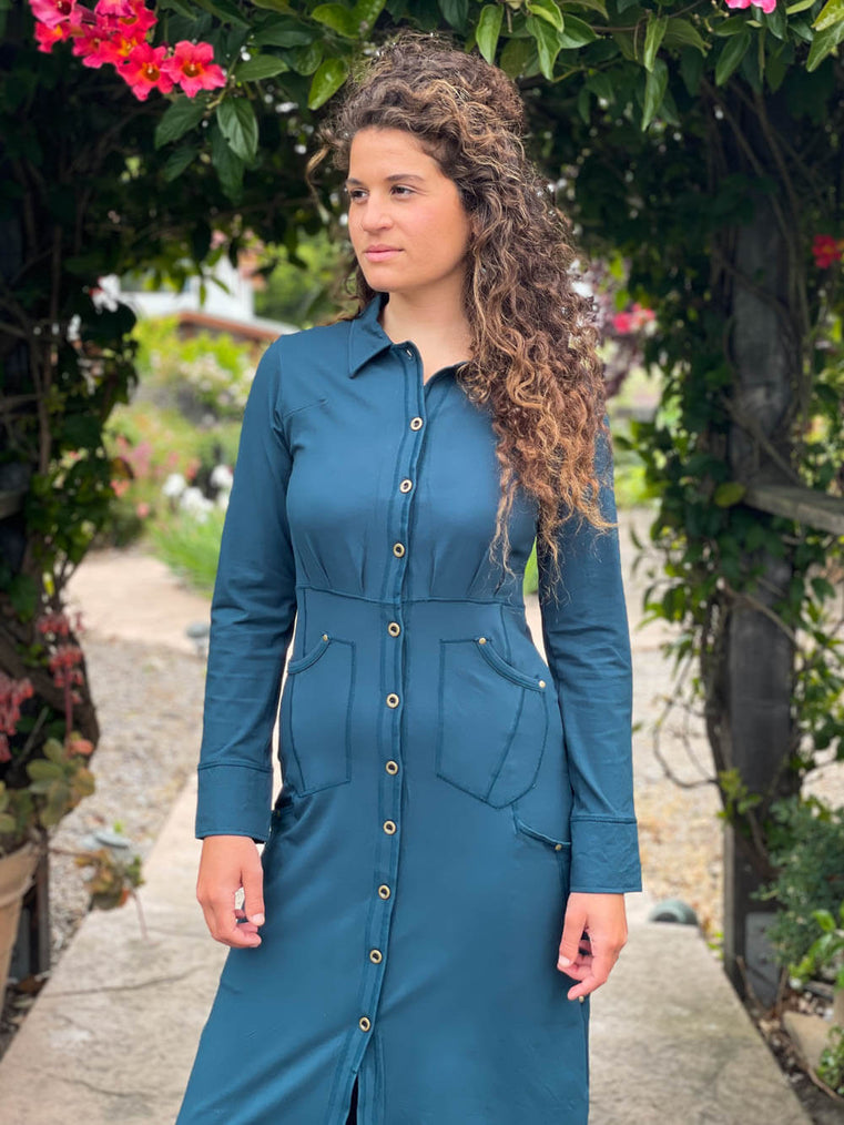 caraucci bamboo spandex teal coat dress with 6 pockets and buttons up the front, can be worn as a jacket or dress #color_teal