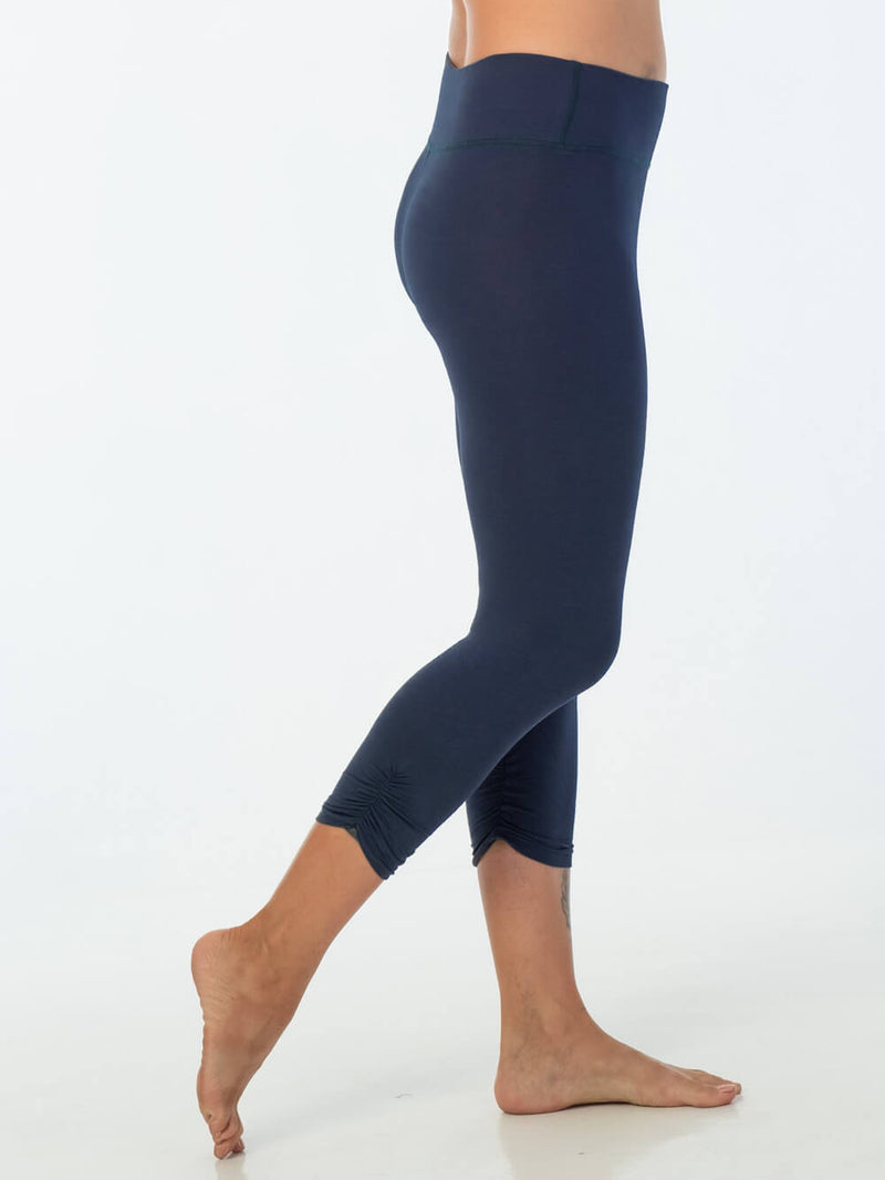 caraucci women's plant-based rayon jersey lycra navy blue capri leggings #color_navy