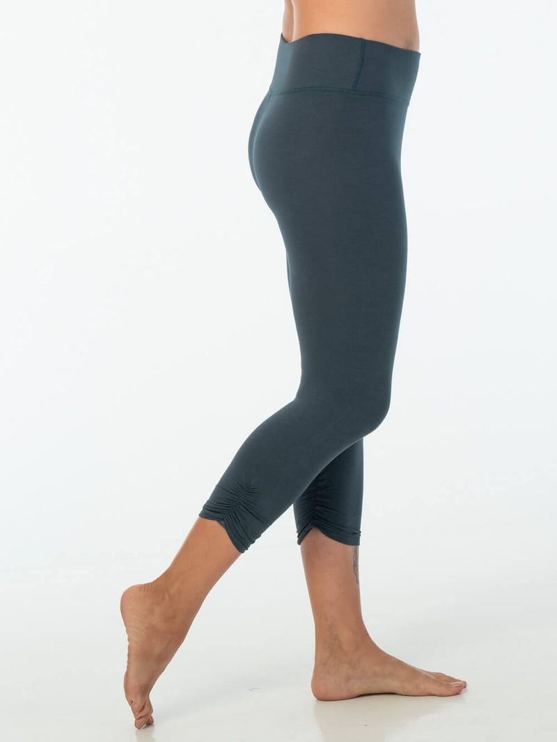 caraucci women's plant-based rayon jersey lycra teal capri leggings #color_teal