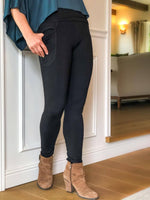 womens bamboo spandex full length leggings with a pocket and fold over waistband #color_black