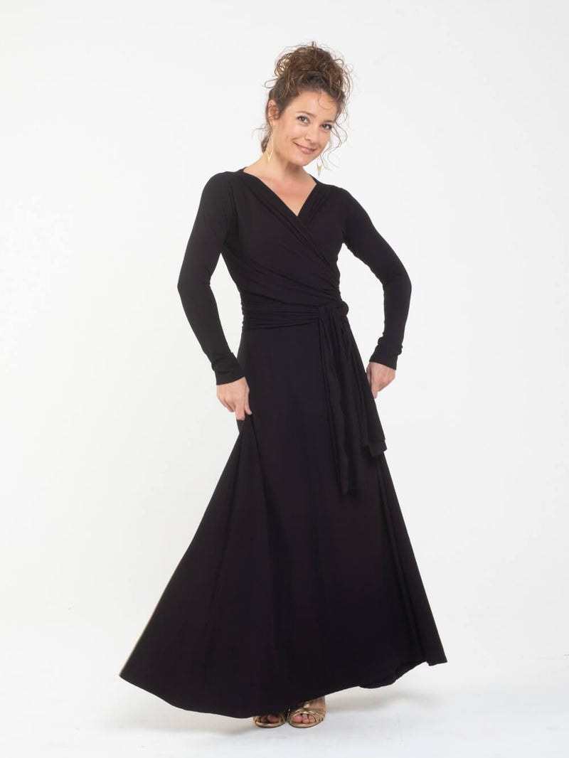 womens long sleeve vneck wrap style black maxi dress #color_black