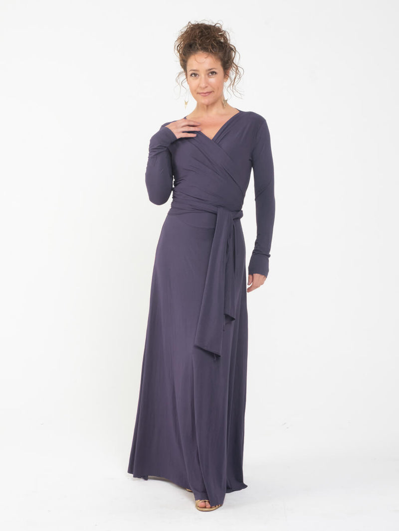 womens long sleeve vneck wrap style steel grey maxi dress #color_steel