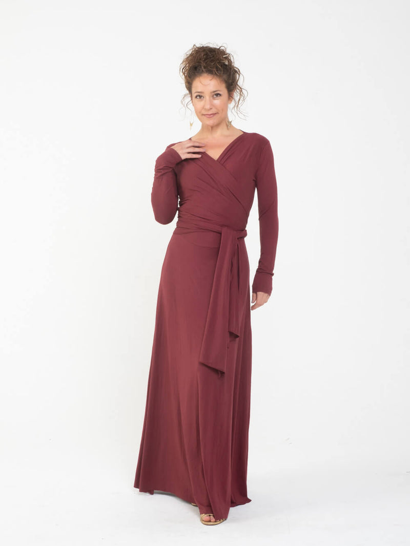 womens long sleeve vneck wrap style maroon maxi dress #color_wine