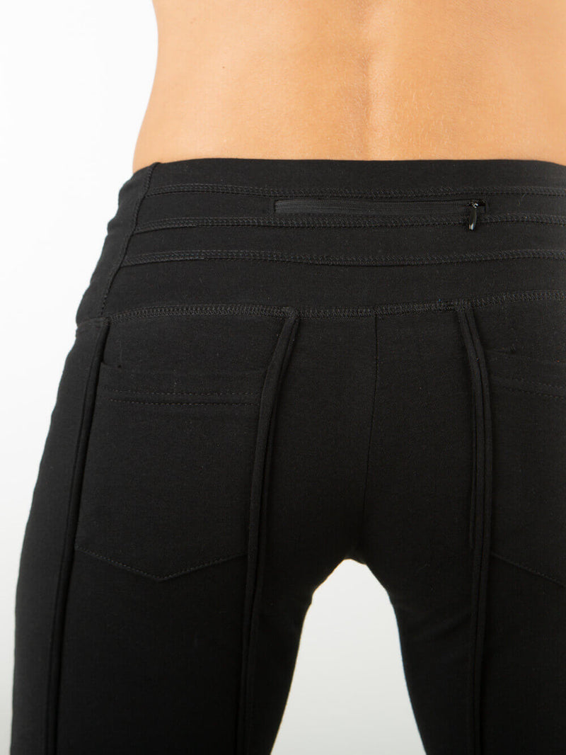 women's cotton lycra stretchy full length black pants with ruched knees and 2 pockets #color_black
