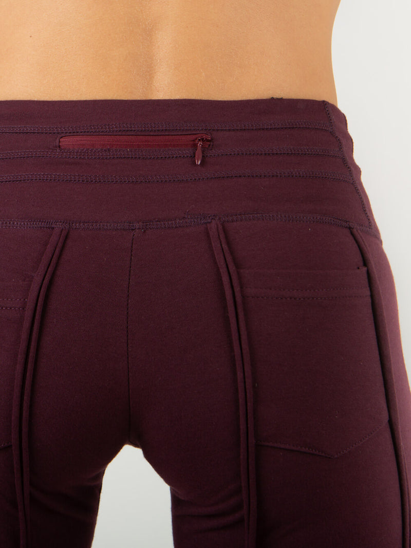 women's cotton lycra stretchy full length plum pants with ruched knees and 2 pockets #color_dark-plum