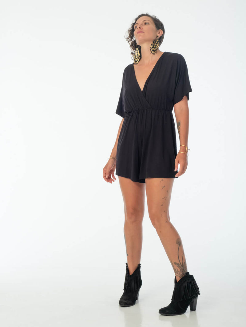 womens loose fit natural jersey black one piece shortsie romper #color_black