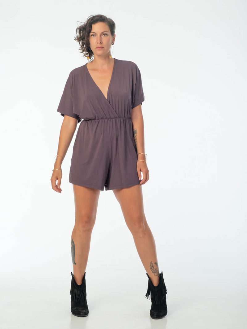 womens loose fit natural jersey steel grey one piece shortsie romper #color_steel